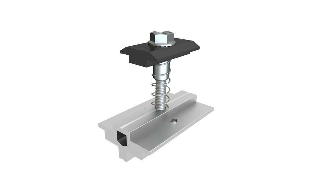 Mid Clamp With Shared Rail Adaptor Black Amray Solar